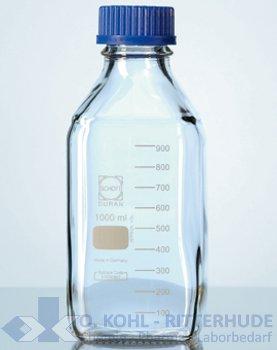 Laborflasche, Duran, vierkant, mit Verschluß