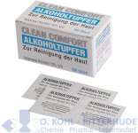 Alkoholtupfer, 3 x 3 cm, mit 70% Isoamylalkohol